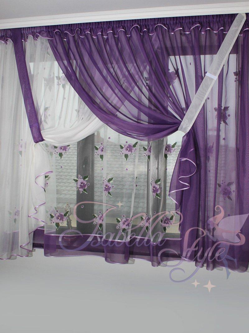 Фиолетовый дизайн штор