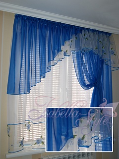 Дизайн штор для синей кухни